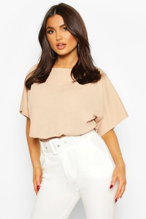 Boohoo Slash Neck Bodysuit- Camel