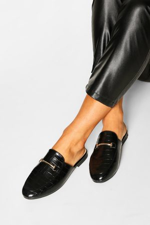 Boohoo Basic Croc Mule Loafers