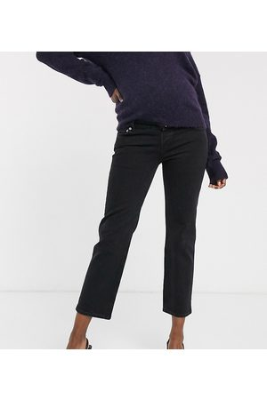 ASOS DESIGN Maternity High rise stretch 'slim' straight leg jeans in black with over the bump band