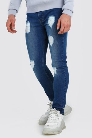 Boohoo Mens Mid Super Skinny Jeans With Heavy Distressing