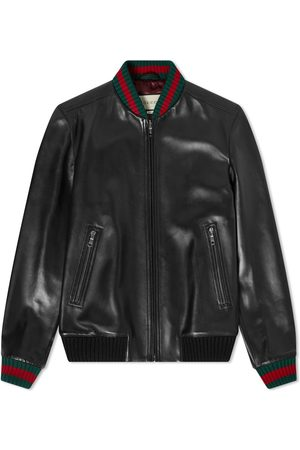 Gucci Men Leather Jackets - GRG Taped Leather Bomber Jacket