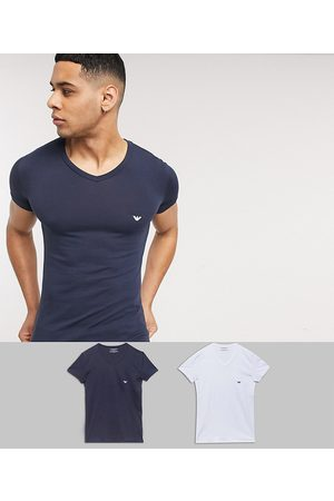 Emporio Armani Loungewear 2 pack v neck logo lounge t-shirts in white and navy-Multi