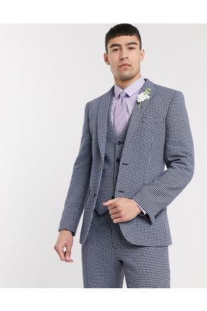 ASOS DESIGN wedding skinny suit jacket in blue and grey wool blend microcheck