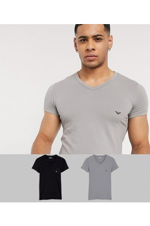 Emporio Armani Loungewear 2 pack v neck logo lounge t-shirts in black and grey-Multi