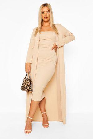 Boohoo Plus Bandeau Dress & Duster Co-Ord- Stone