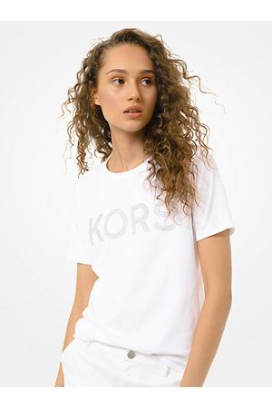 Michael Kors Short Sleeve - Studded Logo Cotton-Jersey T-Shirt