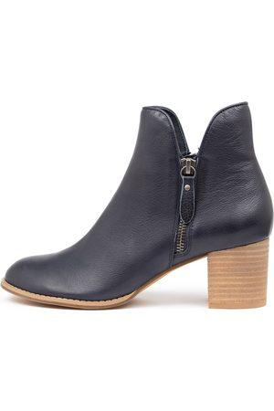 Django & Juliette Shiannely Navy Boots Womens Shoes Ankle Boots