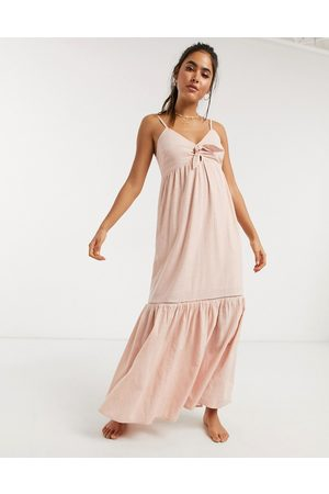 Accessorize knot front beach maxi dress in pink