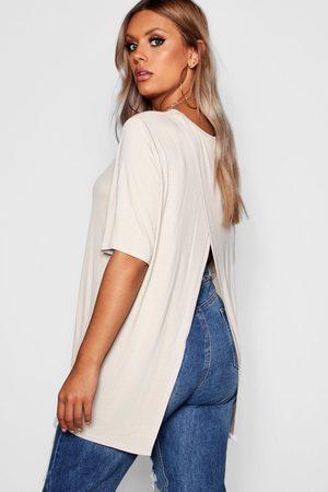 Boohoo Plus Jersey Split Open Back T-Shirt- Stone
