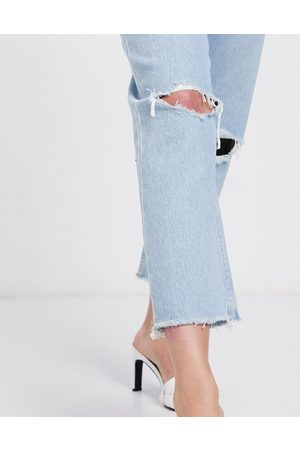 ASOS DESIGN Recycled Florence authentic straight leg jeans in bright lightwash blue with rips and raw hem