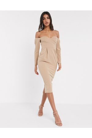 ASOS DESIGN fallen shoulder bust cup midi dress in mocha-Brown