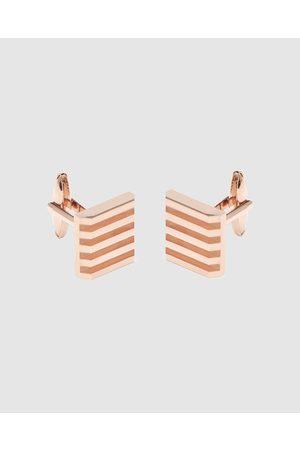 Buckle Sold Stripe Square Rose Cufflinks - Ties & Cufflinks (Rose ) Sold Stripe Square Rose Cufflinks
