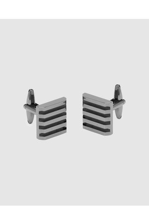 Buckle Sold Stripe Square Gunmetal Cufflinks - Ties & Cufflinks (Gunmetal) Sold Stripe Square Gunmetal Cufflinks