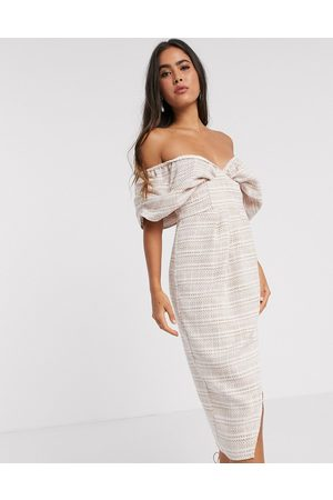 ASOS DESIGN blouson bodice wrap midi dress in textured pale pink check