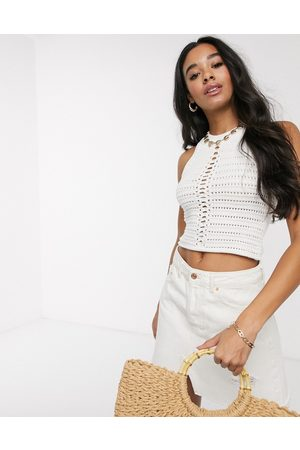 ASOS DESIGN crochet halter neck crop top-Cream