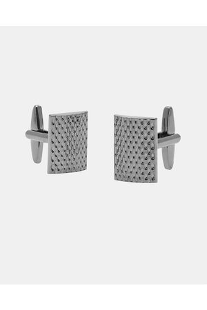 Buckle Rectangle Gunmetal Cufflinks - Ties & Cufflinks (Brushed Gunmetal) Rectangle Gunmetal Cufflinks