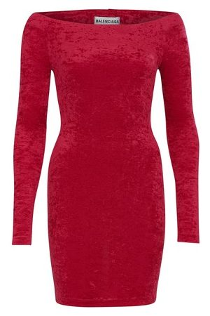 Balenciaga Women Mini Dresses - Cycling mini velvet dress