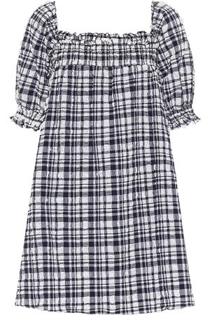Solid Babydoll checked minidress