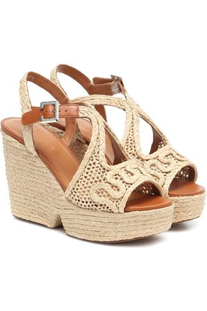 Robert Clergerie Doloria raffia wedge sandals