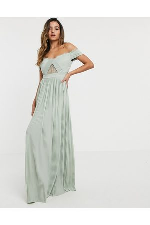 ASOS DESIGN Premium lace and pleat bardot maxi dress in sage-Beige