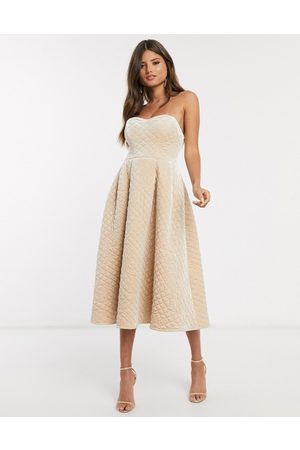 Women Midi Dresses - ASOS DESIGN Premium quilted velvet bandeau prom midi dress in champagne-Beige