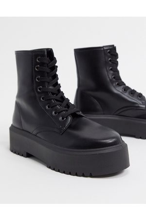 ASOS DESIGN Attitude 2 lace up chunky boots in black
