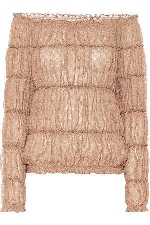 Missoni Metallic knit off-shoulder blouse