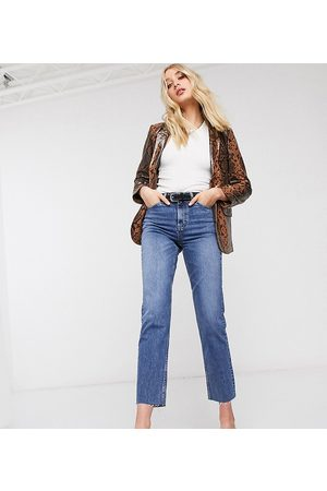 Topshop Tall straight leg jeans in mid wash-Blue