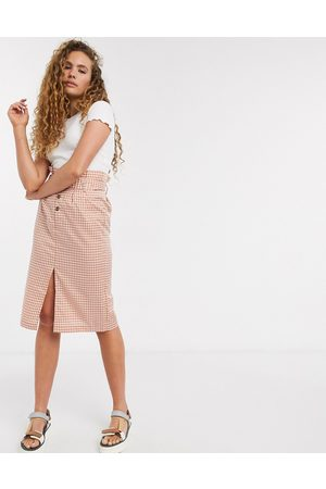 Soaked In Luxury check belted skirt-Multi