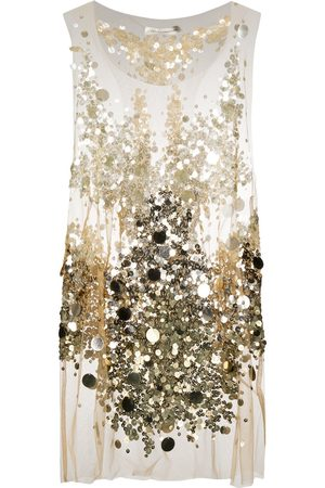 FAITH CONNEXION Sheer sequin embroidered top