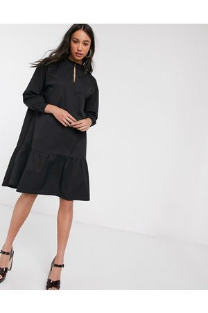 Object high neck tiered midi smock dress in black
