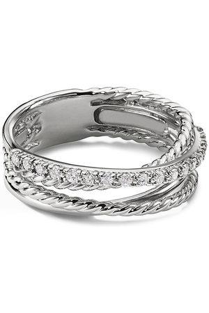 David Yurman Diamond silver multi row crossover ring