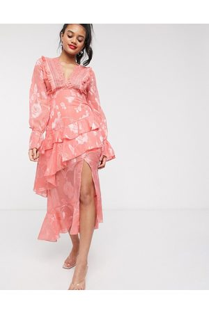 Dark Pink plunge front midi dress with frill detail in apricot-Orange