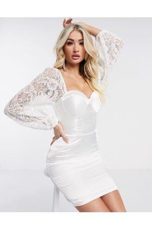 Rare London sweetheart neck puff sleeve dress in cream