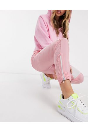 QED London elasticated cuff cargo pants with stripe in pink