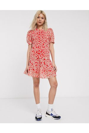 Soaked In Luxury printed mesh mini skirt with peplum-Multi