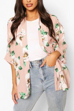 Boohoo Floral Print Kimono- Blush