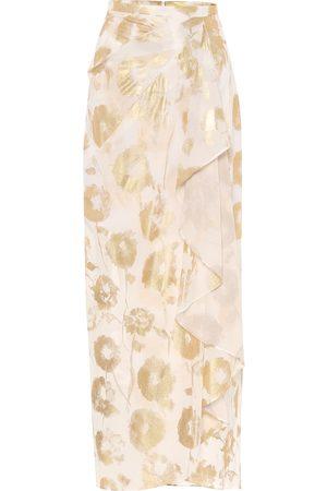 HALPERN Floral cotton-voile wrap skirt