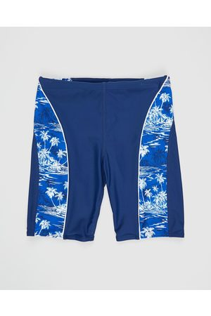 Bluesalt Beachwear Hawaiian Palms Swim Jammer Pants Teens - Swimwear (Navy ) Hawaiian Palms Swim Jammer Pants - Teens