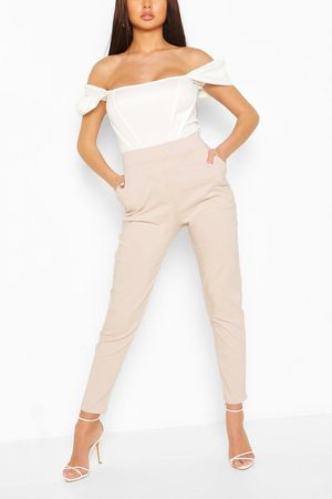 Boohoo Stretch Tapered Pants- Stone