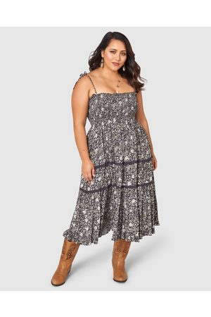 The Poetic Gypsy Gypsy Floral Print Dress - Printed Dresses (CHARCOAL) Gypsy Floral Print Dress