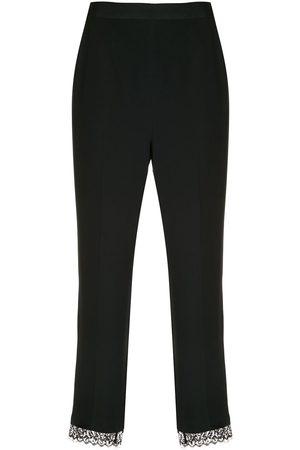 Kiki de Montparnasse Cropped lace-trim silk cigarette pants