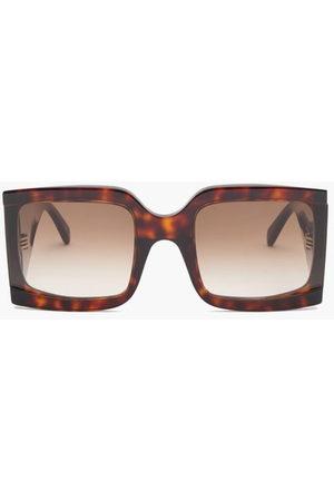 Céline Oversized Square Tortoiseshell-acetate Sunglasses - Womens - Dark