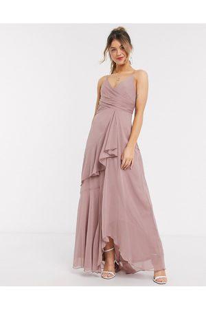 ASOS DESIGN soft layered cami maxi dress in rose pink