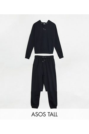 ASOS DESIGN Tall tracksuit hoodie / slim jogger with tie in organic cotton in black