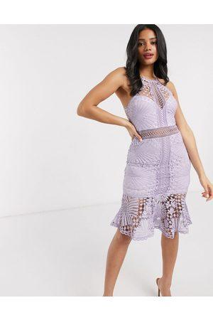 Love Triangle lace pencil dress in lilac-Purple
