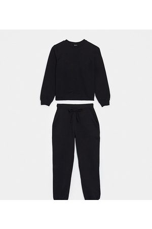 ASOS DESIGN Petite tracksuit ultimate sweat / jogger with tie in organic cotton-Black