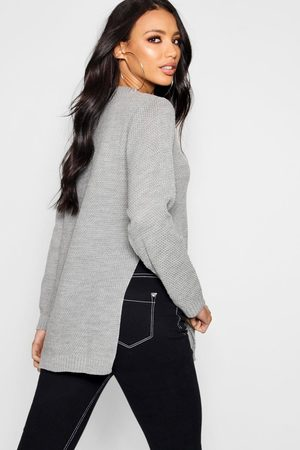 Boohoo Side Split Moss Stitch Tunic Sweater
