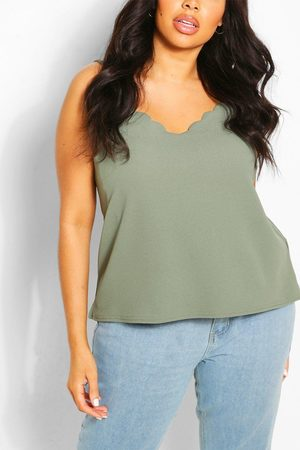 Boohoo Plus Scalloped Edge Cami Top- Khaki