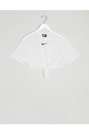 Nike mesh tie front crop t-shirt in white